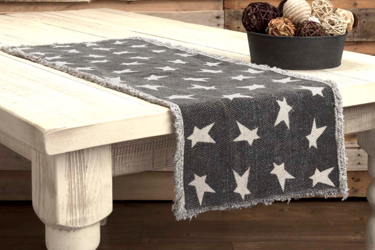 Rustic Country Americana Patriotic Black Primitive Star Table Runner