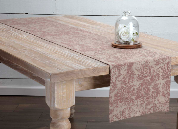 Rustic Cottage Farmhouse Burgandy Floral and Paisely Table Runner