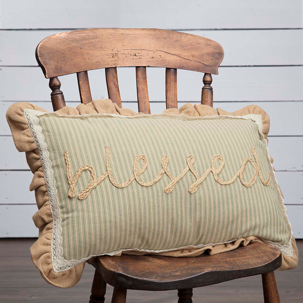 Cottage Farmhouse Prairie Blessed Home Decor Pillow