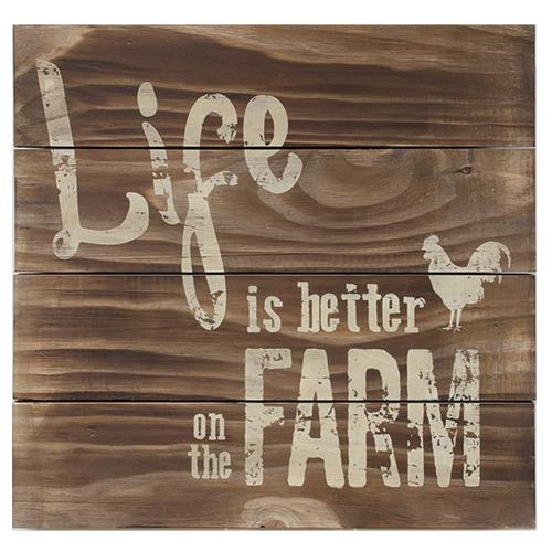 Primitive Farmhouse Life on the Farm Rooster Slat Sign