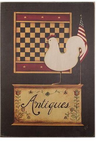 Country Rooster Antiques Gameboard Sign
