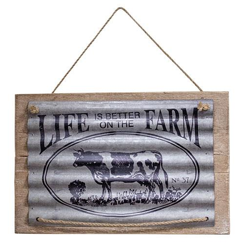 Farmhouse  Life on the Farm Cow Metal and Wood Rustic Sign