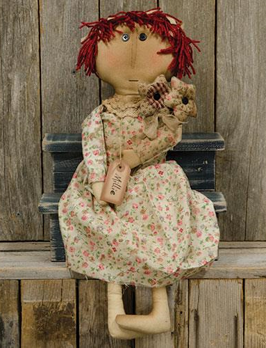 Primitive Country Raggedy Ann Style Vintage Inspired Home Decor Doll with Flowers