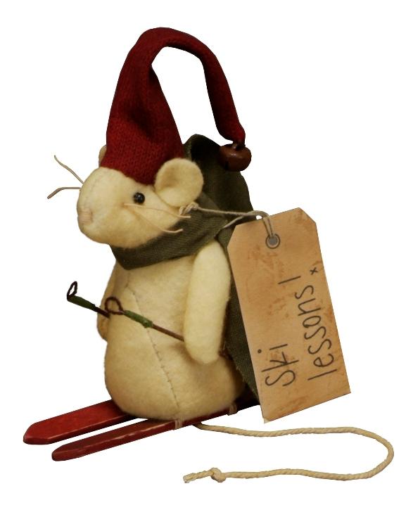 Primitive Country Winter Mini Ski Mouse Home Accent