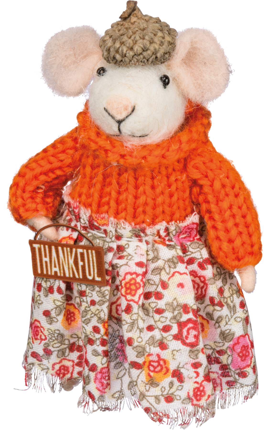 Felted Wool Mini Mouse Figure with Thankful Sign
