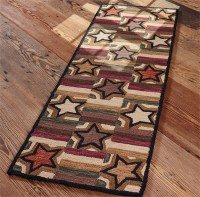 Star Block Hooked Rug Floor Runner