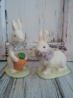 Vintage Style White Rabbit Figures - Set of 2