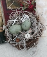 Handmade Bird Nest with Eggs - Rustic Cottage Summer Seasonal Home Decor
