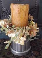 Vintage Inspired Bundt Mold Distressed Pillar/Taper Candle Holder
