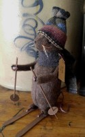 Primitive Country Handmade Winter Ski Mouse