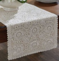 Farmhouse Cottage Ivory Crocheted Lace Table Runner