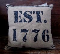 Patriotic Burlap 1776  Rustic Home Decor Pillow