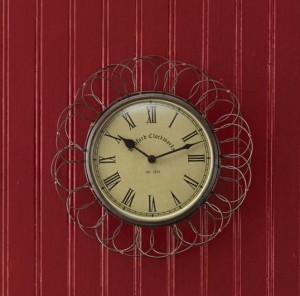 Farmhouse Style Vintage Inspired Wire Basket Wall Clock