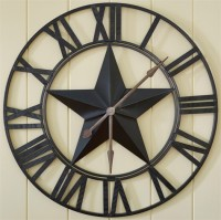 Rustic Country Iron Star Oversized Wall Clock