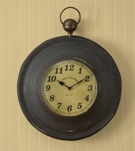 Rustic Vintage Inspired Large Pocket Watch Wall Clock