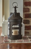 Geddy Large Candle Lantern - Primitive Farmhouse Pillar Holder