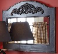 Rustic Mantle Top Aged Black Mirror