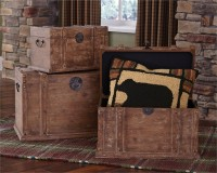 Rustic Distressed Wood Trunks - Set of 3