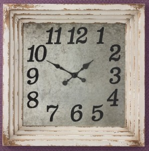 Farmhouse Cottage Industrial Aged Square Wall Clock