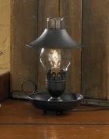 Primitive Country Black Electric Chamberstick Lantern / Lamp with Shade