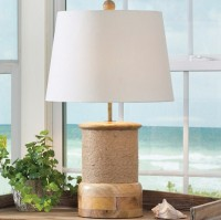 Cottage / Lake Inspired Robe Wrap Wood Table Lamp