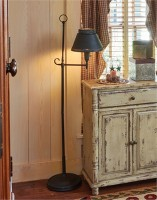 Antique Inspired Iron Floor Lamp - Rustic Primitive Home Lighting