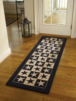 Black Star Country Hooked Runner Floor Rug