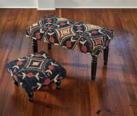 Folk Art Pattern Hooked Stool or Bench