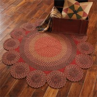 Rustic Red Circles Cotton Braided Rug