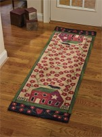 Red Saltbox House Hooked Rug Runner