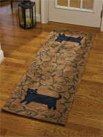 Primitive Folk Kitty Cat Hooked Rug Runner