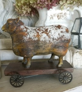 Farmhouse Country Sheep on Cart Rustic Home Decor Figure