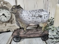 Vintage Farmhouse Sheep on Cart Home Decor Accent