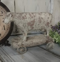 Rustic Cow on Cart Farmhouse Home Decor Figure