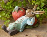 Vintage Inspired Strawberry Bunny Figurine