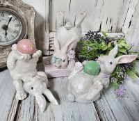 Playful Spring Bunny Rabbit Figure Set