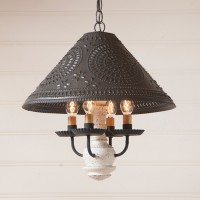 Homespun Punched Tin Shade and Wood Rustic Farmhouse Light