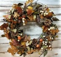 Autumn Neutral Warm Fall Leaves Acorn and Pinecone Wreath