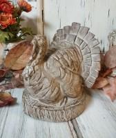 Carved Turkey Autumn Thanksgiving Table Figurine