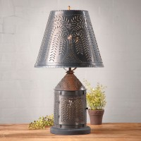 Fireside Table Lamp with punched Tin Willow Shade