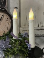 "Ivory Flameless 6"" Battery Cottage Farmhouse Timer Taper Candle - Set of 2 -"