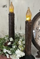 "6"" Dark Brown Rustic Battery Operated Timer Taper Candle - Set of 2 -"