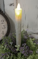 Rustic Motion Flame LED Battery Operated Drip Taper Timer Candle