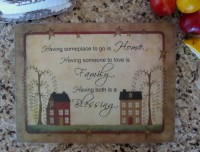 Primitive Country Art House & Willow Glass Kitchen Counter Cutting Board