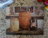 Primitive Country Art Tempered Glass Crock & Lantern Counter Cutting Board