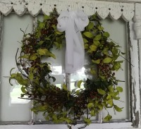 Herb Leaves & Burgandy Berry Wreath - Rustic Cottage Farmhouse Floral Accent