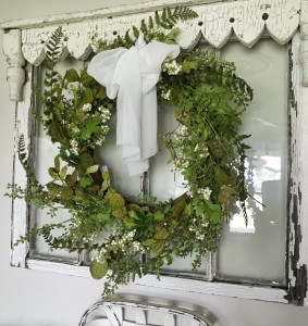 Mixed Greens & White Berry Wreath - Cottage Farmhouse Floral Accent