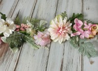 Blush Mix Garland - Peonie & Dahlia Pink & White Flowers