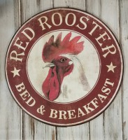 Rustic Farmhouse Red Rooster Metal Sign