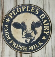 Rustic Farmhouse Peoples Dairy Cow Metal Sign